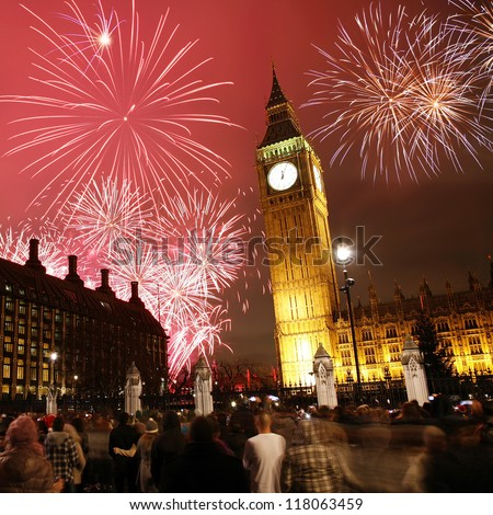 2012 Fireworks over Big Ben at midnight