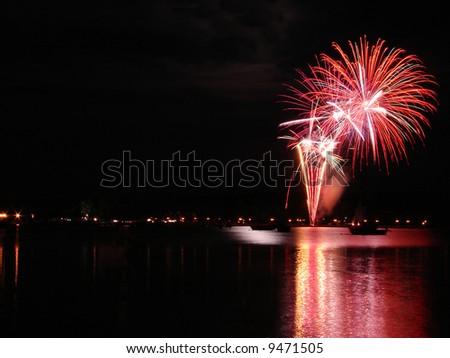 Fireworks over Memphremagog Lake  in Magog, Province of Quebec, Canada