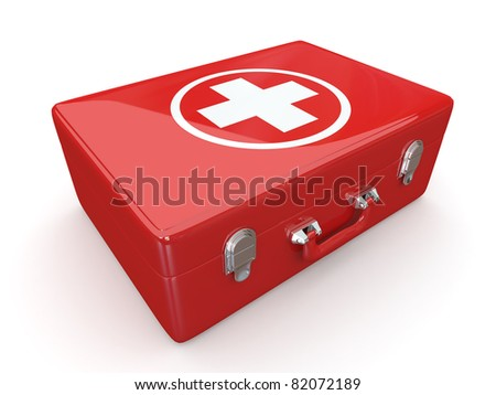 First aids. Medical Kit on white isolated background. 3d
