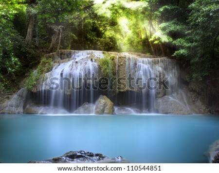 Stock Photo  First level of Erawan Waterfall in Kanchanaburi Province, Thailand
