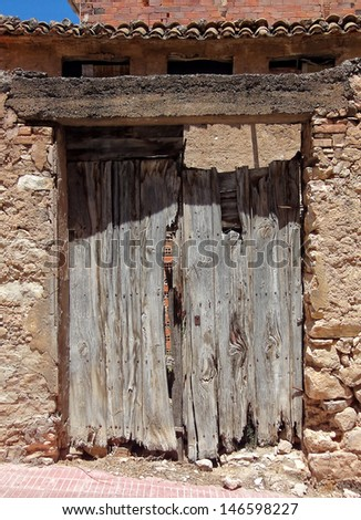 first plane of a wooden door, in an old town house                 - stock photo