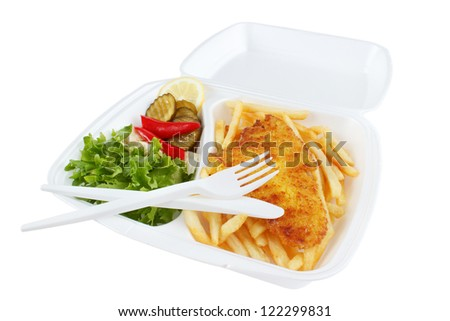 Fish and chips portion from fast food restaurant , isolated on white