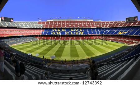 (fisheye) huge wide panoramic view of Nou Camp Stadium, Barcelona FC