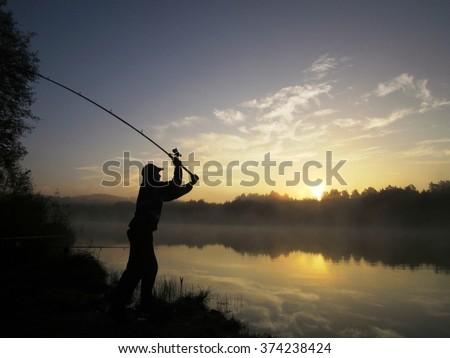 Fishing on  pond.