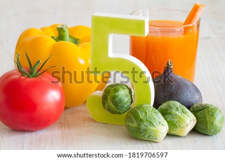 5 Five a day portion with fresh fruits and vegetables healthy diet lifestyle concept Stock photo ©