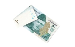 500 Five Hundred Rupees Pakistani Currency Bank note folded isolated on a white background