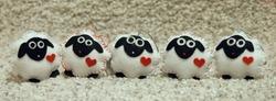 Five white sheep, handmade unique felt Christmas decorations.  Cover photo for social media