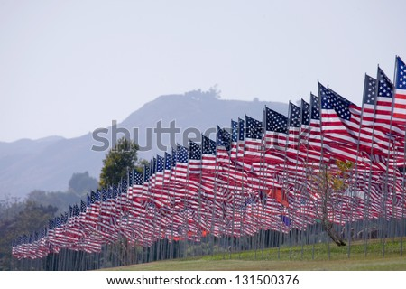 3000 Flags displayed 9/11 memorial on September 11, 2009 in Malibu, CA
