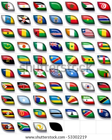66 flags icons (buttons) of Africa 600x504 pixels including not recognized countries