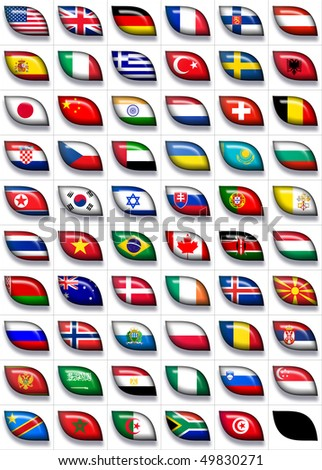 59 flags icons (the countries of all continents) 599x457 pixels - stock photo