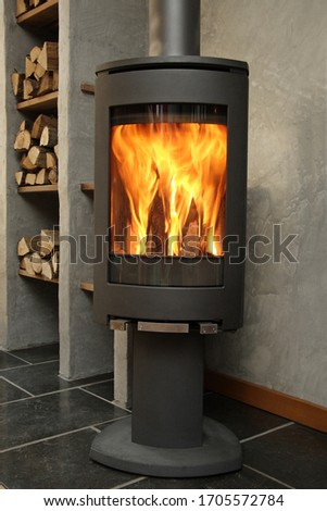 flames burn clean combustion cast iron stove fueled by wood logs Stock fotó ©
