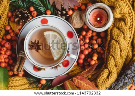 Flat lay.  Textured scarf with cup of tea . Autumn leaves,candles on wooden background . Autumn or Winter concept.