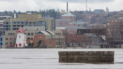 2018 Flood St. John River. Old Bridge Pier. Downtown Fredericton, New Brunswick, Canada.