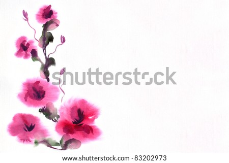 •floral watercolor illustration - stock photo