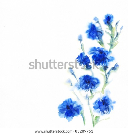 "•floral watercolor illustration Album ""Bouquet of flowers"".""Blue flowers watercolor""."