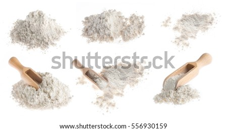 flour with wooden scoop isolated on white background #556930159