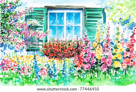 Flowering garden with window in background watercolor painted.