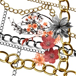 flowers and golden chain background