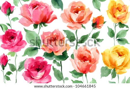 flowers hand painted watercolor roses
