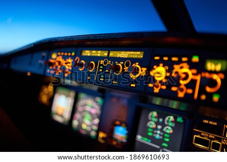 Flying 34000 feet high in an Airbus A320  Stock photo ©