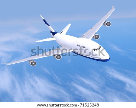 flying jet airplane