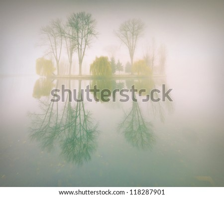 Foggy morning landscape in the autumn park near the lake. Vintage stylization