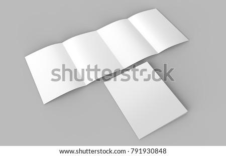 4 fold brochure on grey background, 3d illustration.
