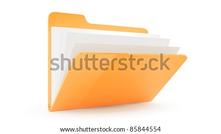 Folder with files with files on white background