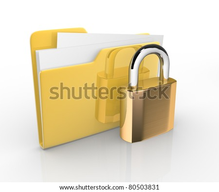 Folder with paper and lock. 3d render illustration