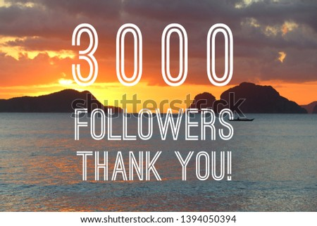 3000 followers banner - social media success sign. Online community thank you note. 3k likes. #1394050394