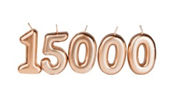 15000 followers card isolated on white with clipping path. Template for social networks, blogs. Social media celebration banner. 15k online community fans. 15 fifteen thousand subscriber