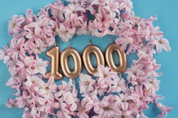 1000 followers card. Template for social networks, blogs. Background with pink flower petals. Social media celebration banner. 1k online community fans. 1 thousand subscriber