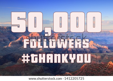 50000 followers - social media milestone banner. Online community thank you note. 50k likes. #1412205725
