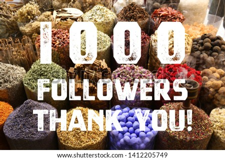 1000 followers thank you sign - social media milestone banner. 1k likes. #1412205749
