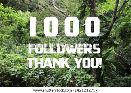 1000 followers thank you sign - social media milestone banner. 1k likes. #1421212757