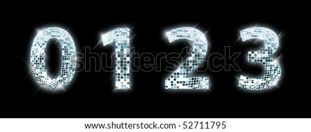 0,1,2,3 - font made from a disco ball - stock photo