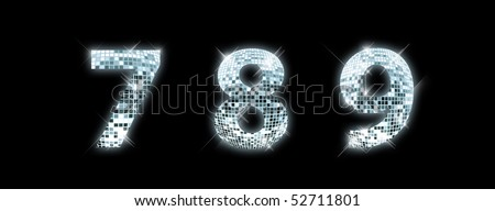 7,8,9 - font made from a disco ball