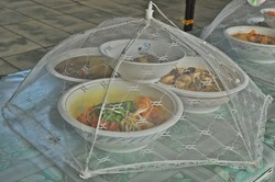 Food Cover Nets Made from fine fabric Used to cover food Prevent flies, insects, dust, prevent bulging or musty food. Can be folded.Concept of keeping food clean Before and after eating.