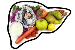 Foods for liver health. Fruits, vegetables, yoghurt, dairy products, nuts, fatty fish, dried apricots