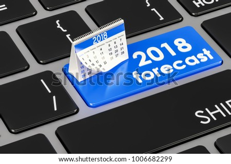 2018 forecast concept on the keyboard, 3D rendering