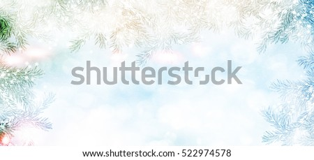 forest in the frost. landscape. Snow covered trees. Christmas card #522974578