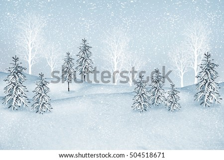 forest in the frost. Winter landscape. Snow covered trees.  #504518671