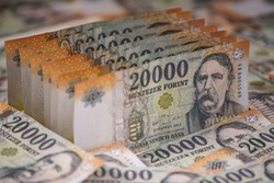 20000 forint banknote stacks as background (Hungarian forint) Deak Ferenc. Europe Hungary.
