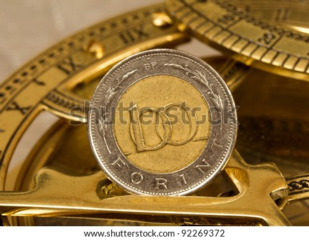 100 forint coin on old compass