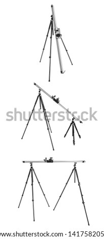 3 forms for using slider system for time lapse. Tripods and dolly, slider. Time Lapse equipment on a white background. Video and photography slider. Isolated tripod and time lapse controller.