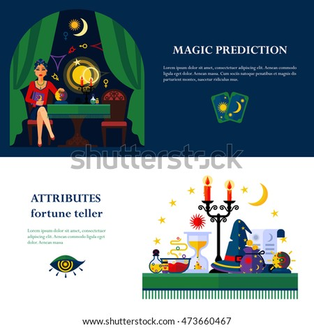 Fortune teller and cards reader young woman magical attributes 2 flat banners composition poster abstract  illustration