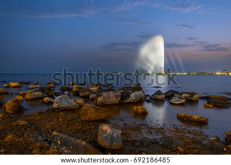 fountain A landmark of the city of Jeddah , the tallest in the world
