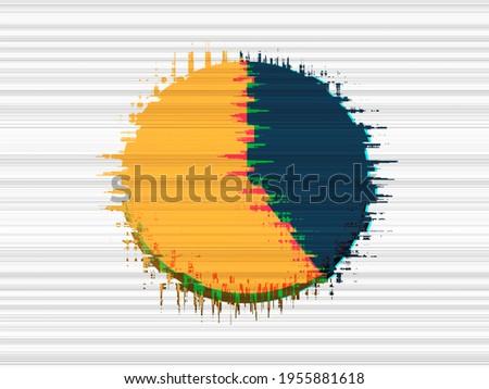 40 %. Four tenths pie chart with glitch effect, blue and yellow under white background. Six tenths. Stock photo ©