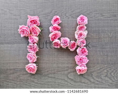 14, fourteen - vintage number of pink roses on the background of dark wood - for congratulations, postcards, websites, design, printing #1142681690