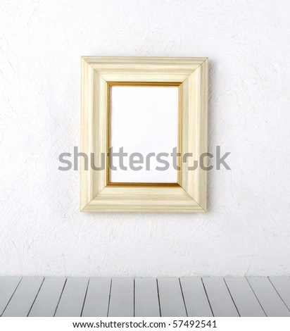 frame over the white wall background